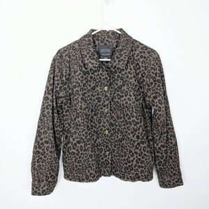 Sanctuary Leopard Print Jean Jacket Frayed Hem